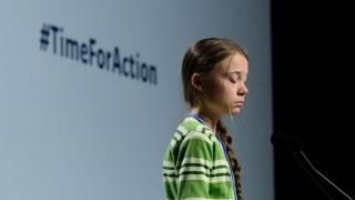 "Swedish climate activist Greta Thunberg gives a speech during a high-level event on climate emergency hosted by the Chilean presidency during the UN Climate Change Conference COP25 at the ""IFEMA - Feria de Madrid"" exhibition centre, in Madrid, on December 11, 2019."