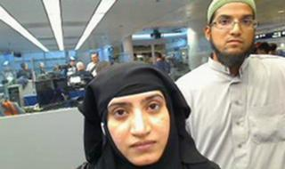 2014 file image of Tashfeen Malik, left, and Rizwan Farook, as they passed through O'Hare International Airport in Chicago