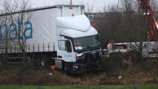 Crashed lorry