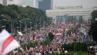 People attend a protest against the results of the presidential elections, in Minsk, Belarus 23 August 2020