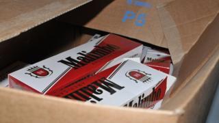 Illicit cigarettes in a box