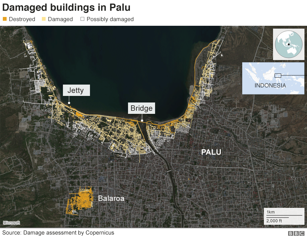 Map of Palu showing buildings damaged/destroyed in the tsunami