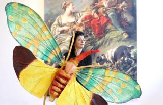 Turner Prize nominee artist Monster Chetwynd is seen with her art installation Lanternfly