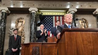 O presidente Donald Trump no discurso do Estado da União em janeiro de 2018