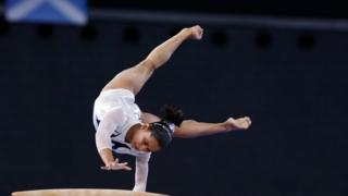 """Dipa Karmakar of India performs during the women""""s gymnastics vault apparatus final at the 2014 Commonwealth Games in Glasgow, Scotland July 31, 2014."""
