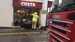 Costa coffee car crash