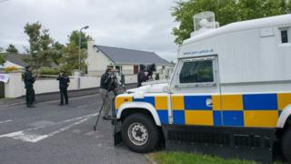 A police Land Rover at the scene of the attempted murder in 2015