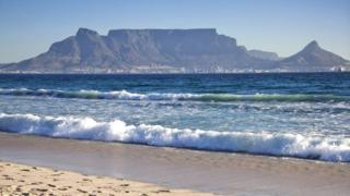 A general view of the Table Mountain and the city of Cape Town is seen on April 2, 2010 from Blouberg beach on the outskirt of Cape Town.