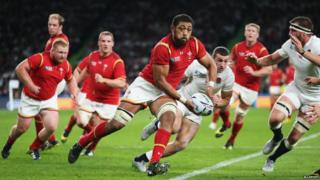 Wales players in possession of the ball