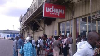 Protesting staff and suppliers of one of East Africa's leading retailers, Uchumi supermarket in Dar es Salaam, Tanzania