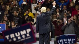 President-elect Donald Trump acknowledges the crowd after speaking at US Bank Arena on December 1, 2016 in Cincinnati, Ohio