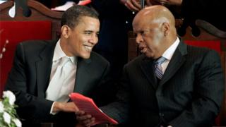 Barack Obama pictured with John Lewis