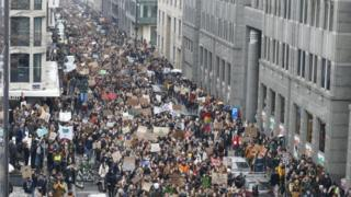 Young people protest in Brussels