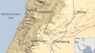 Map showing location of Sabboura