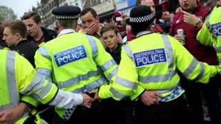 Police try to control West Ham fans