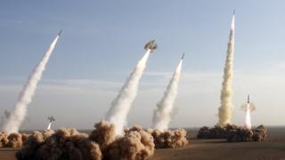 Iranian missiles launched during military manoeuvres