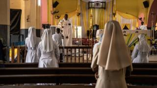 Easter Sunday Mass is broadcast live on social media from the Cathedral of the Immaculate Conception in the capital of Burkina Faso, Ouagadougou, 12 April 2020