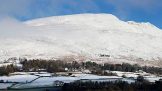 Blencathra mountain covered in snow