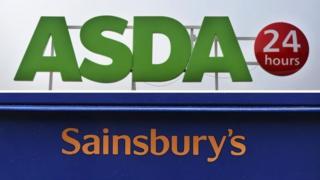 Asda and Sainsbury's signs