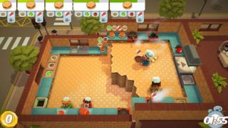 A scene from Overcooked, showing four chefs trying to make burgers