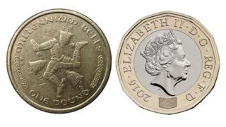 Isle of Man £1 coin (left) UK £1 coin (right)