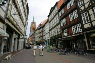 A street with typical half-timbered houses in the centre of Hanover is seen on 24 June 2005