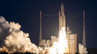 Ariane 5 lifts off from its launchpad in Kourou, at the European Space Center in French Guiana. Photo: 20 June 2019