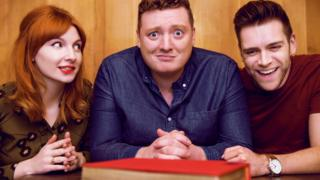 Jamie Morton (centre) with fellow podcasters friends James Cooper and Alice Levine