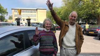 Emmanuel Elliott and Hilda Farmer with their recovered car