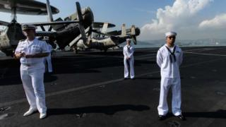 Sailors on the USS Ronald Reagan