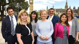(left to right): Johnny Mercer, Maria Caulfield, Natalie McGarry, Martha Kearney, Tommy Sheppard, Tulip Siddiq and Jess Phillips