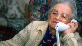 Elderly lady on phone