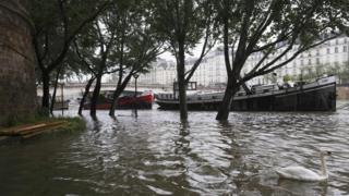 The River Seine in Paris in flood following heavy rain on May 31, 2016