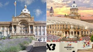 A shot of the square as it is next to an artist impression of what it will look like during the Games