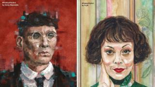 Peaky Blinders fan art by Holly Reynolds (L) and Yvonne Bentley (R)