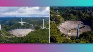 The telescope at the Arecibo Observatory before (left) and after (right) its collapse.