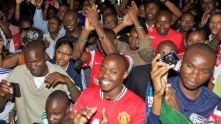The crowd at the unveiling of the Uefa Champions League trophy during the Uefa Champions League Trophy Tour 2012 on 31 March 2012 in Nairobi, Kenya
