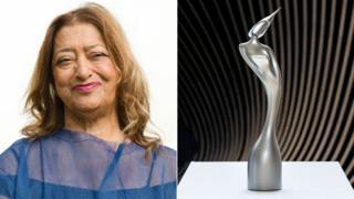 Dame Zaha Hadid and her Brits statuette