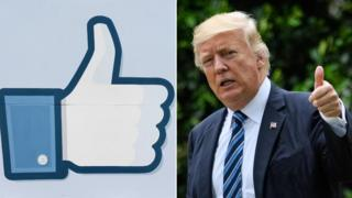 Donald Trump and the Facebook like logo