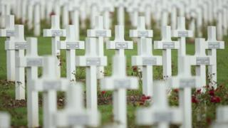 Crosses stand at the cemetery where French soldiers killed in the World War I Battle of Verdun are buried on August 27, 2014 near Verdun, France