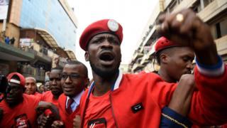 Bobi Wine, whose real name is Robert Kyagulanyi, at a protest