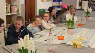 Children at breakfast at a Feeding Britain holiday project earlier this year