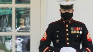 A U.S. Marine is posted at the West Wing door, an indication that President Donald Trump is in the Oval Office as he remains out of public view while fighting the coronavirus disease (COVID-19) at the White House in Washington, U.S. October 9, 2020.