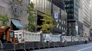 Trucks in front of Trump Tower