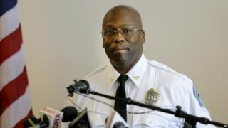 Andre Anderson speaks during a news conference announcing him as the interim police chief of the Ferguson Police Department - 22 July 2015