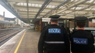 Uniformed officers at Shrewsbury railway station