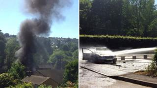 Car fire, Nailsworth, Gloucestershire