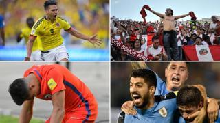 Las caras de las eliminatorias: Falcao, la afición peruana, Suárez y Alexis Sánchez.