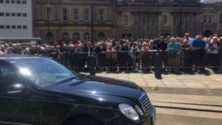 Crowds at funeral