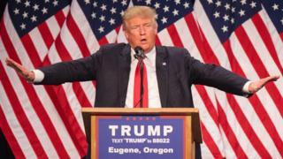 Donald Trump talks in Oregon.